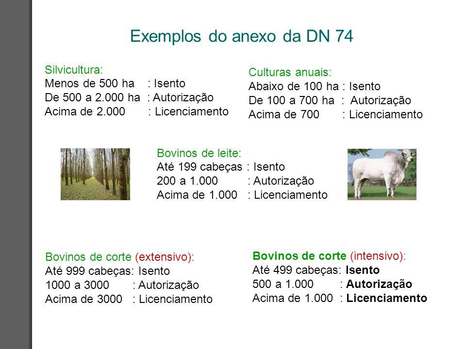 Exemplos do anexo da DN 74 Silvicultura: Menos de 500 ha : Isento