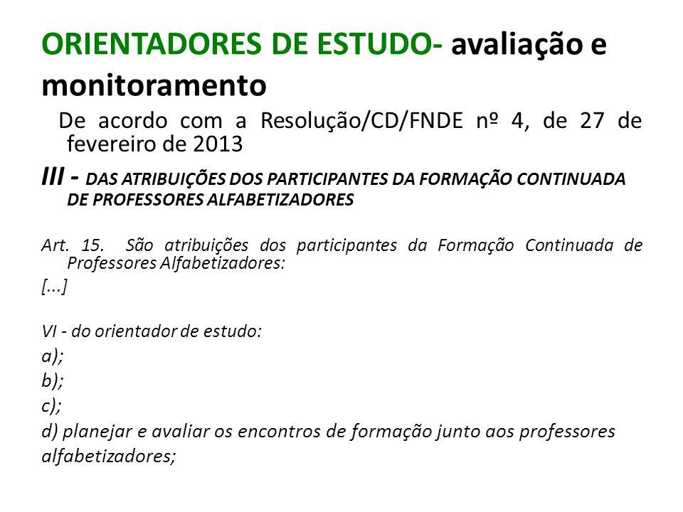 ORIENTADORES DE ESTUDO- avaliação e monitoramento