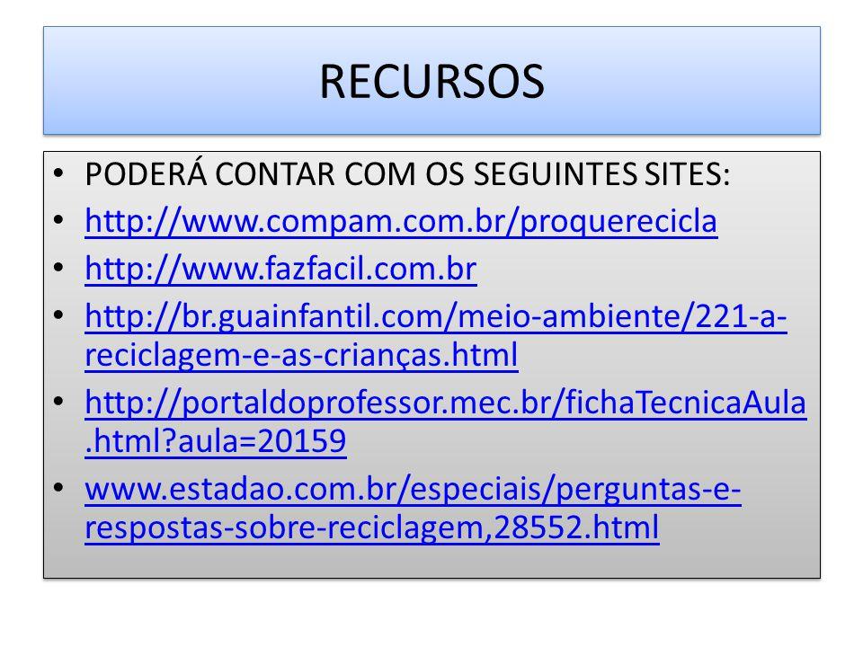 RECURSOS PODERÁ CONTAR COM OS SEGUINTES SITES: