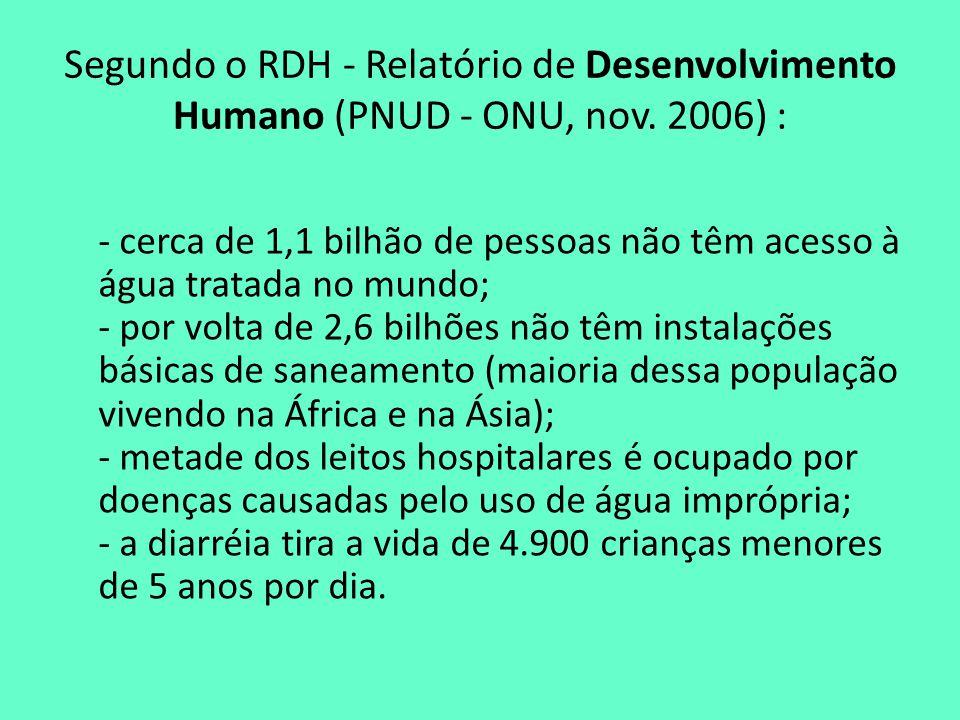 Segundo o RDH - Relatório de Desenvolvimento Humano (PNUD - ONU, nov