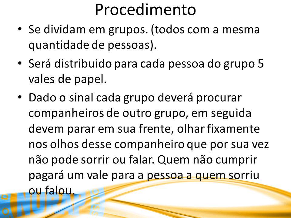 Procedimento Se dividam em grupos. (todos com a mesma quantidade de pessoas). Será distribuido para cada pessoa do grupo 5 vales de papel.
