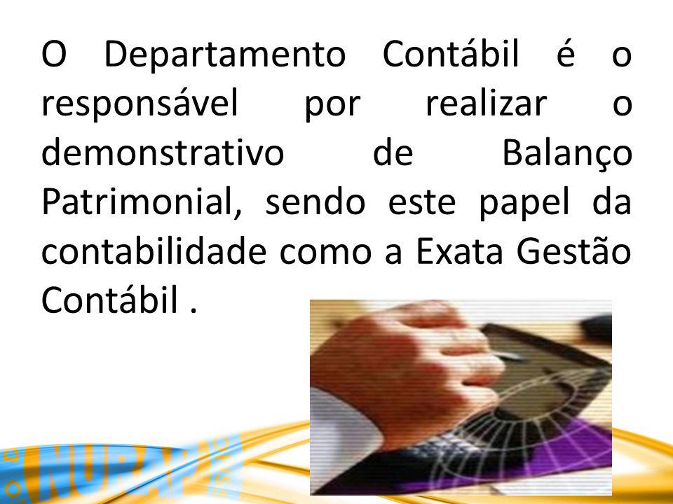 O Departamento Contábil é o responsável por realizar o demonstrativo de Balanço Patrimonial, sendo este papel da contabilidade como a Exata Gestão Contábil .