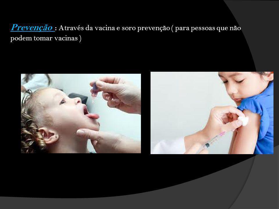 Prevenção : Através da vacina e soro prevenção ( para pessoas que não podem tomar vacinas )