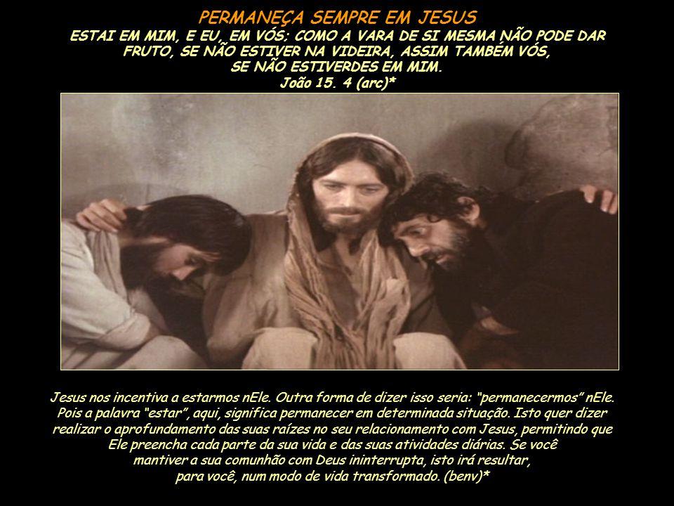 PERMANEÇA SEMPRE EM JESUS SE NÃO ESTIVERDES EM MIM. João 15. 4 (arc)*