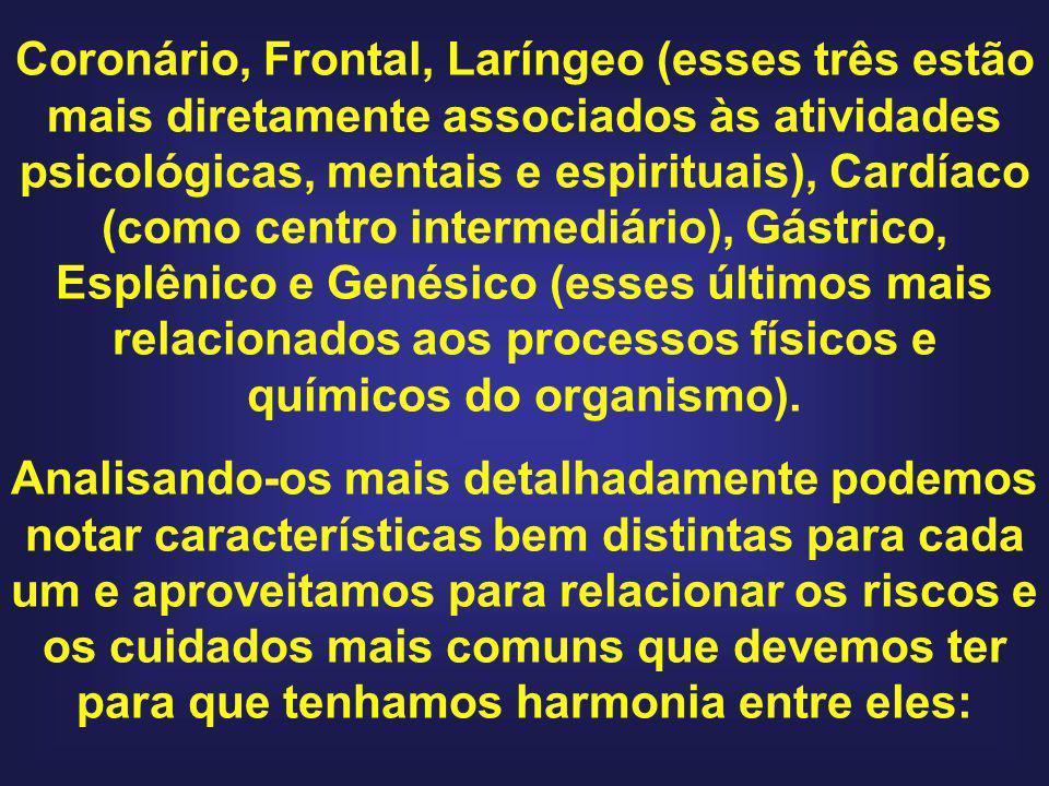 Coronário, Frontal, Laríngeo (esses três estão mais diretamente associados às atividades psicológicas, mentais e espirituais), Cardíaco (como centro intermediário), Gástrico, Esplênico e Genésico (esses últimos mais relacionados aos processos físicos e químicos do organismo).