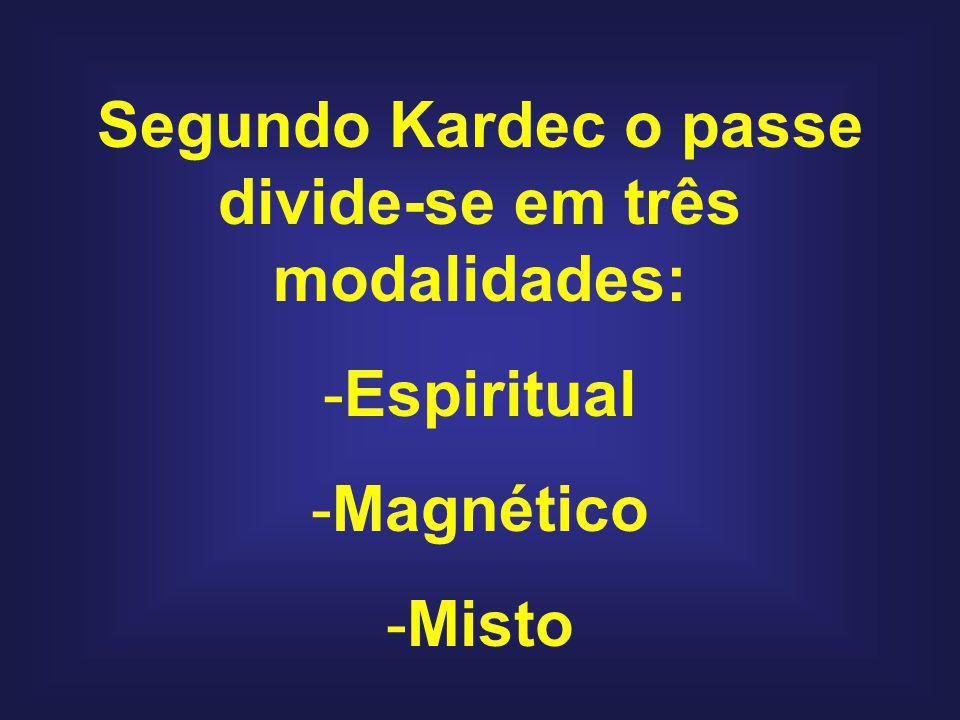 Segundo Kardec o passe divide-se em três modalidades: