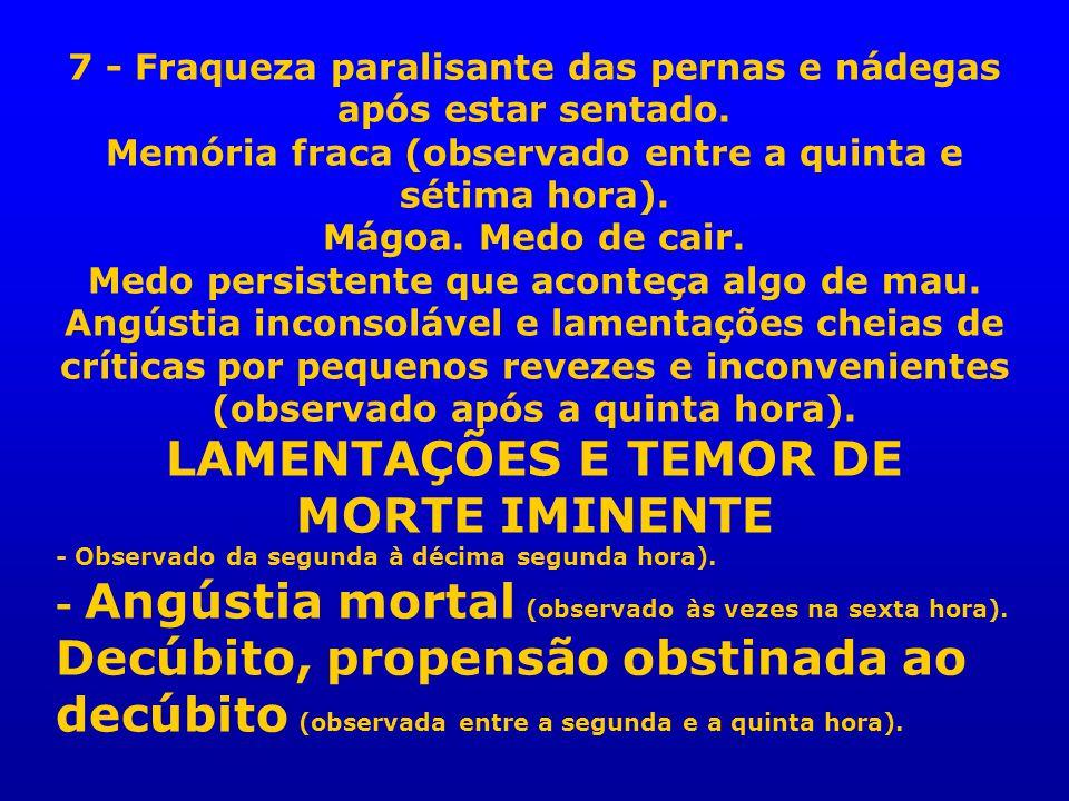 LAMENTAÇÕES E TEMOR DE MORTE IMINENTE
