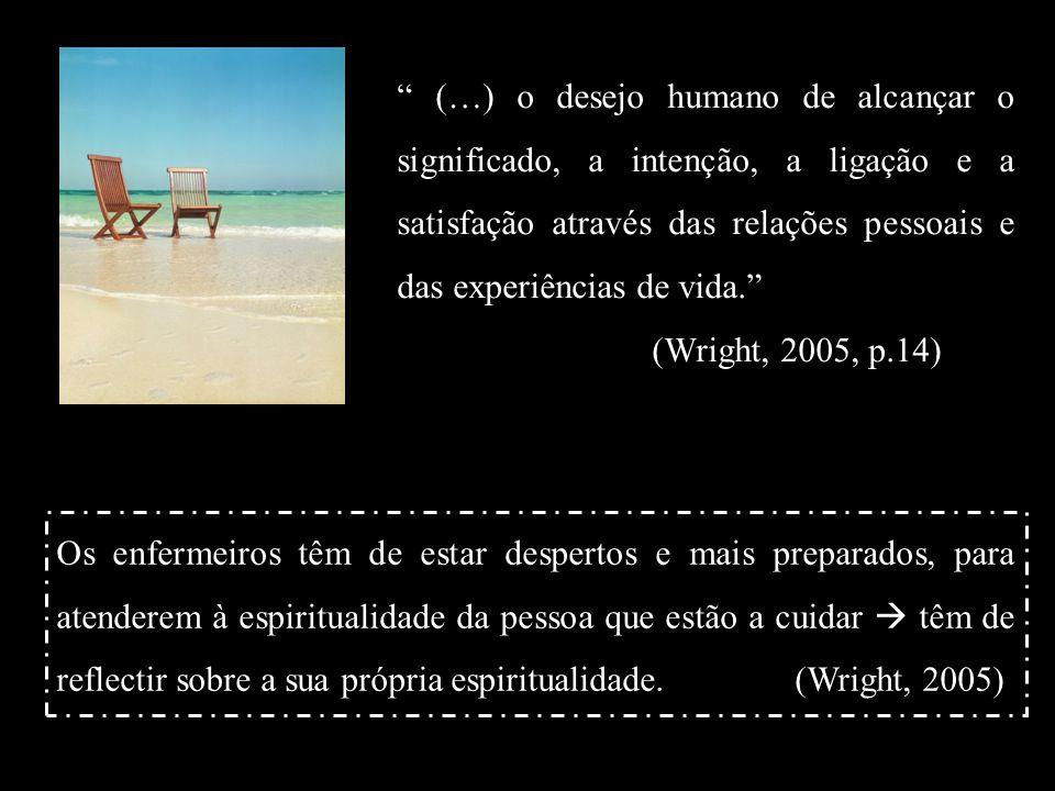 (…) o desejo humano de alcançar o significado, a intenção, a ligação e a satisfação através das relações pessoais e das experiências de vida. (Wright, 2005, p.14)