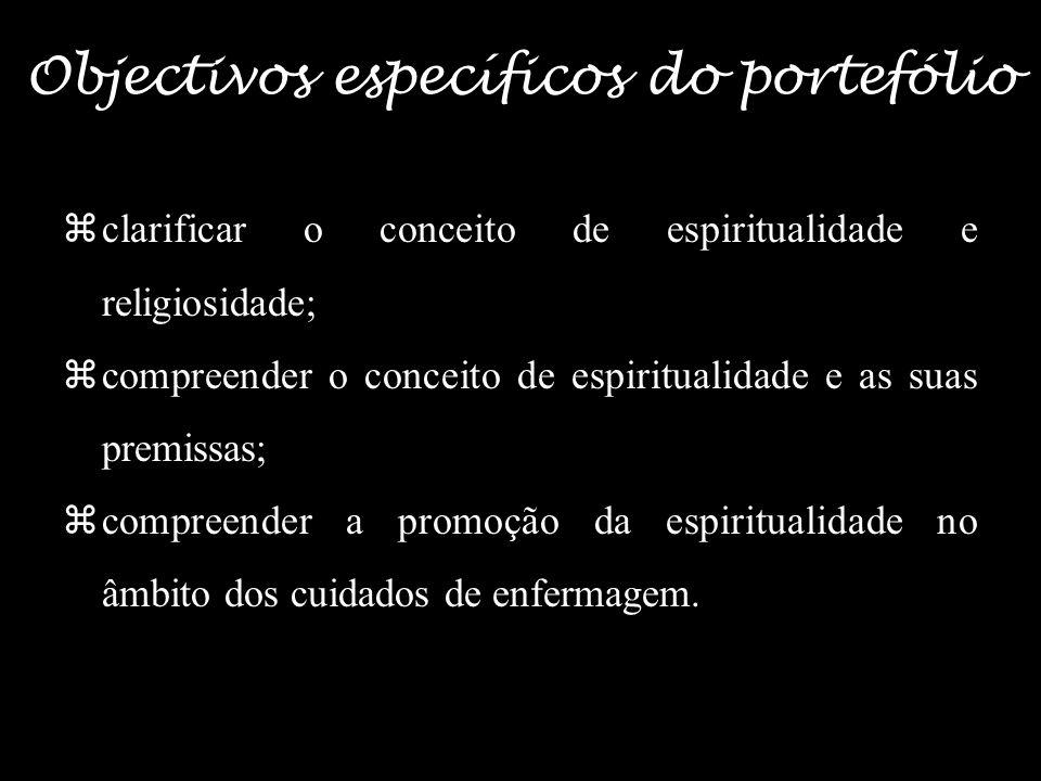 Objectivos específicos do portefólio