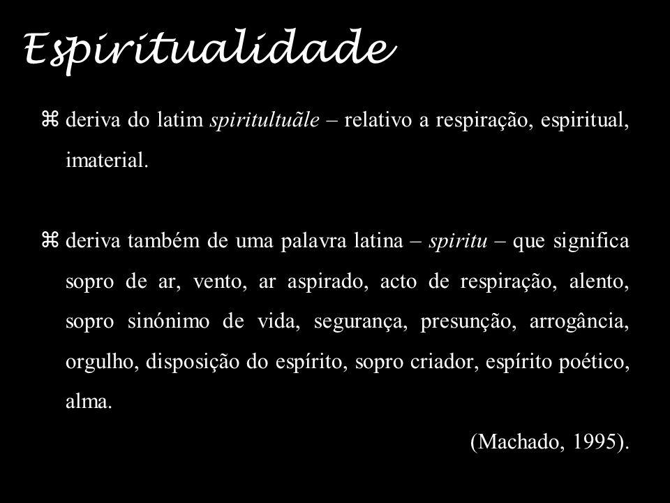 Espiritualidade deriva do latim spiritultuãle – relativo a respiração, espiritual, imaterial.