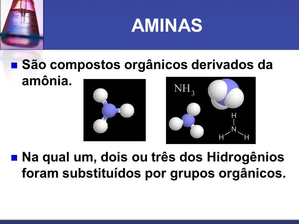 AMINAS São compostos orgânicos derivados da amônia.