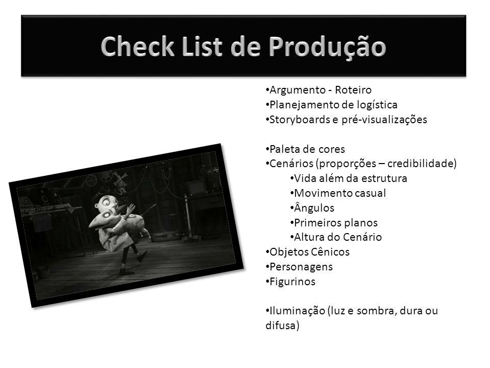 Check List de Produção Argumento - Roteiro Planejamento de logística