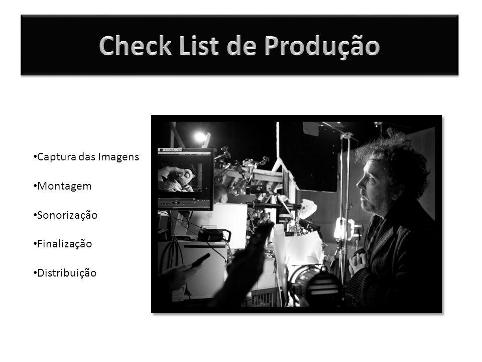 Check List de Produção Captura das Imagens Montagem Sonorização