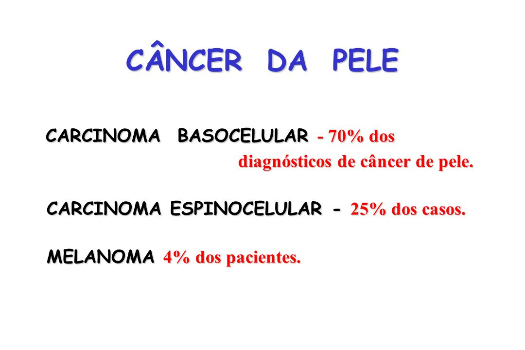 CÂNCER DA PELE CARCINOMA BASOCELULAR - 70% dos