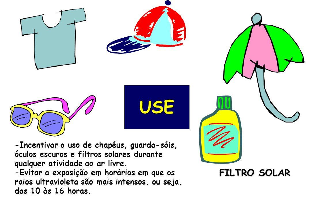 USE -Incentivar o uso de chapéus, guarda-sóis, óculos escuros e filtros solares durante qualquer atividade ao ar livre.