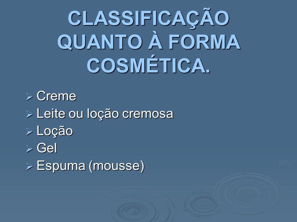 CLASSIFICAÇÃO QUANTO À FORMA COSMÉTICA.