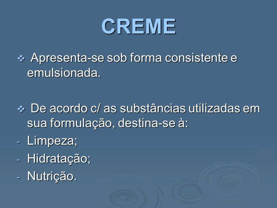 CREME Apresenta-se sob forma consistente e emulsionada.