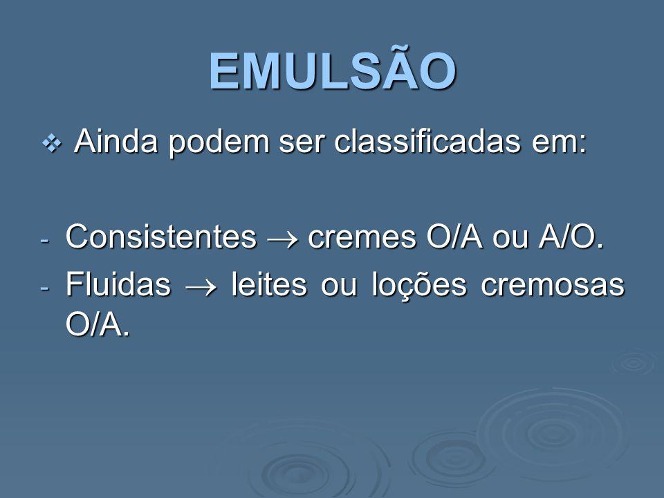 EMULSÃO Ainda podem ser classificadas em: