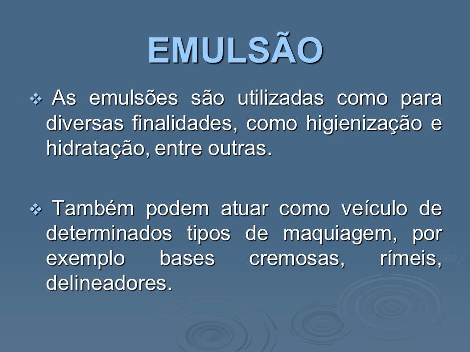 EMULSÃO As emulsões são utilizadas como para diversas finalidades, como higienização e hidratação, entre outras.