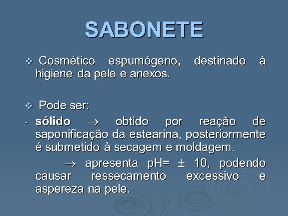 SABONETE Cosmético espumógeno, destinado à higiene da pele e anexos.