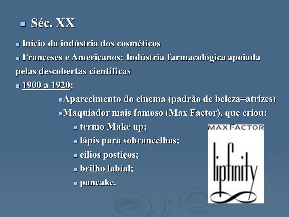 Séc. XX Início da indústria dos cosméticos