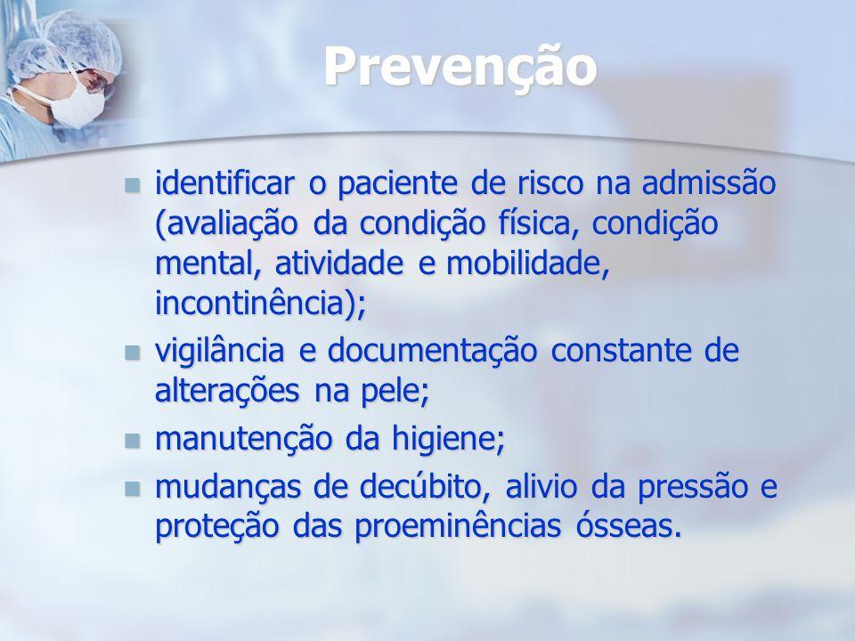 Prevenção identificar o paciente de risco na admissão (avaliação da condição física, condição mental, atividade e mobilidade, incontinência);