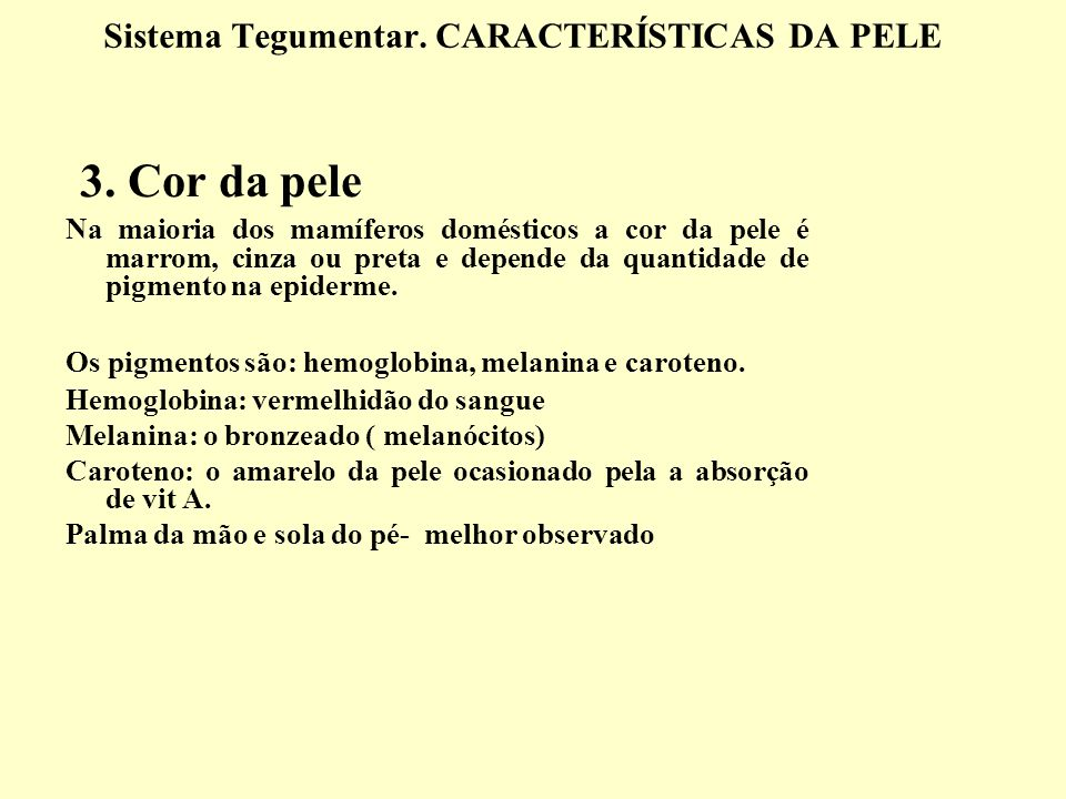 Sistema Tegumentar. CARACTERÍSTICAS DA PELE