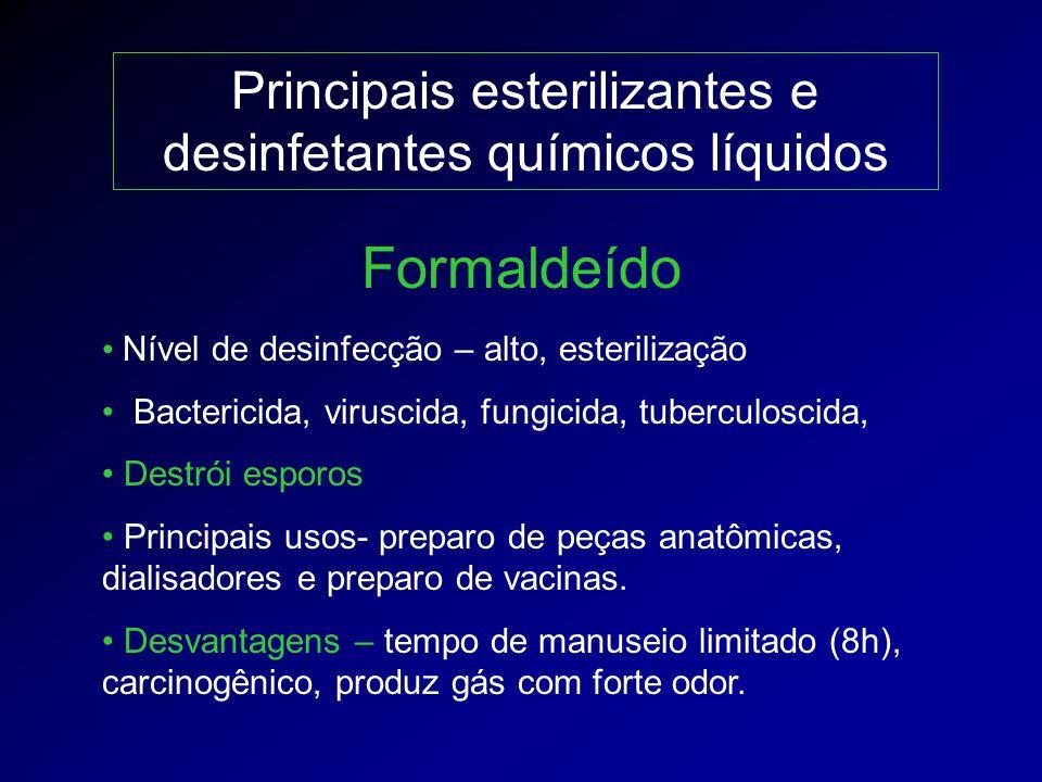 Principais esterilizantes e desinfetantes químicos líquidos