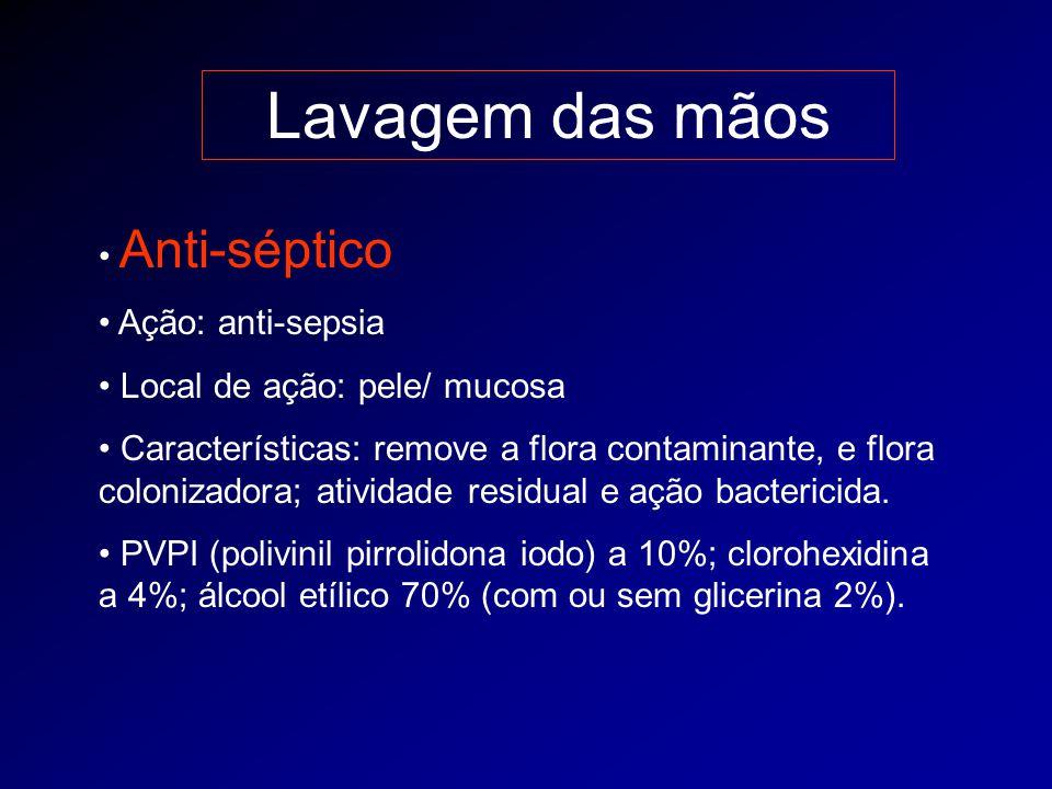 Lavagem das mãos Anti-séptico Ação: anti-sepsia