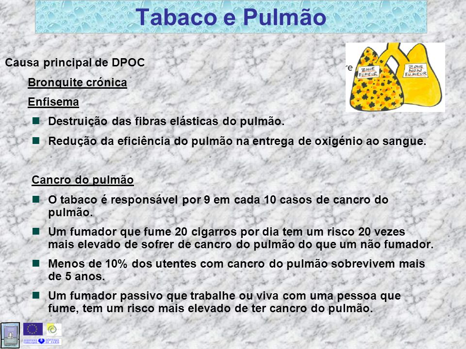 Tabaco e Pulmão Causa principal de DPOC Bronquite crónica Enfisema