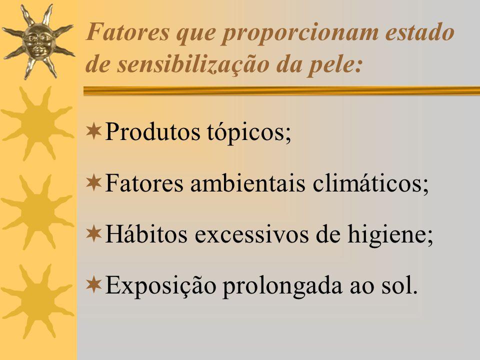 Fatores que proporcionam estado de sensibilização da pele:
