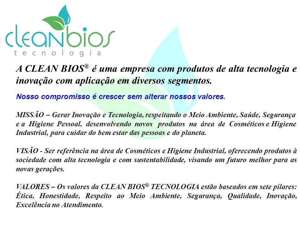 A CLEAN BIOS® é uma empresa com produtos de alta tecnologia e inovação com aplicação em diversos segmentos.