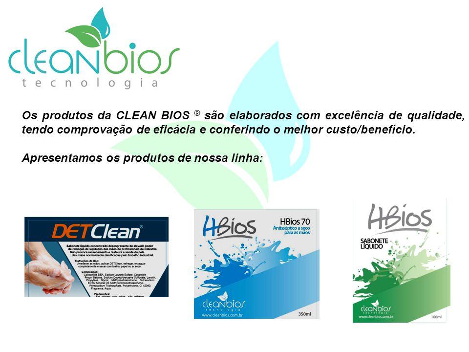 Os produtos da CLEAN BIOS ® são elaborados com excelência de qualidade, tendo comprovação de eficácia e conferindo o melhor custo/benefício.