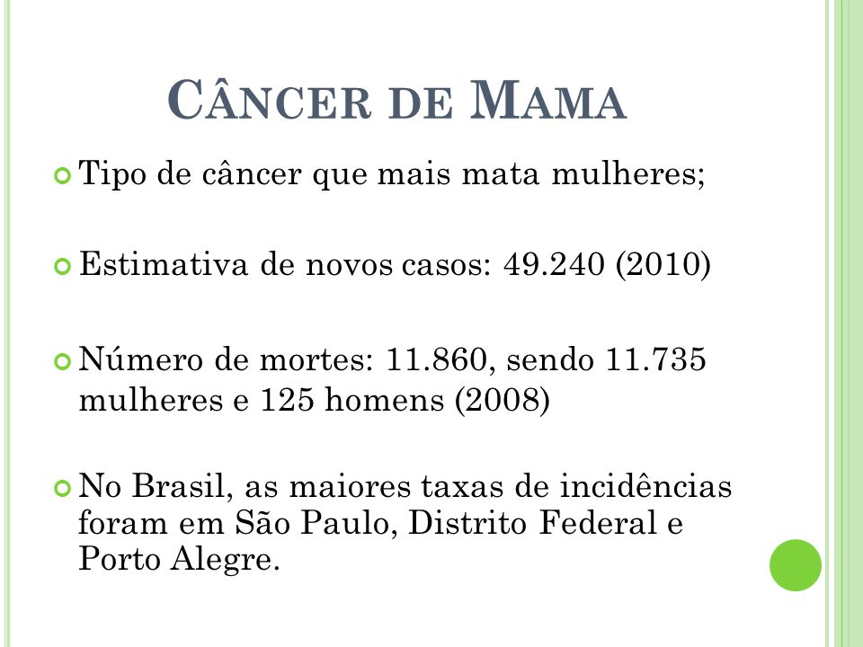 Câncer de Mama Tipo de câncer que mais mata mulheres;