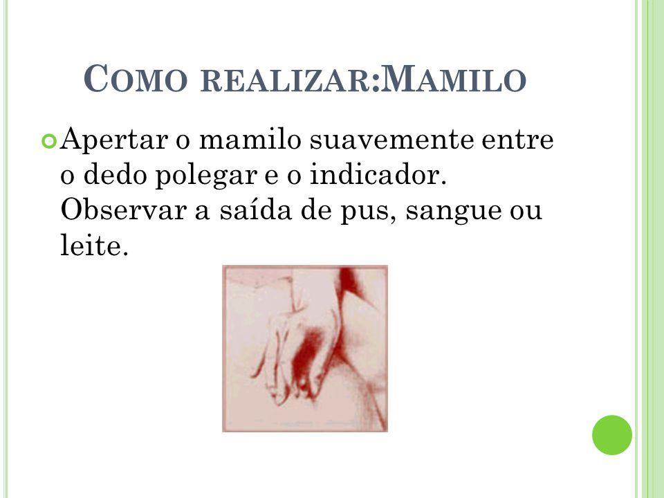 Como realizar:Mamilo Apertar o mamilo suavemente entre o dedo polegar e o indicador.