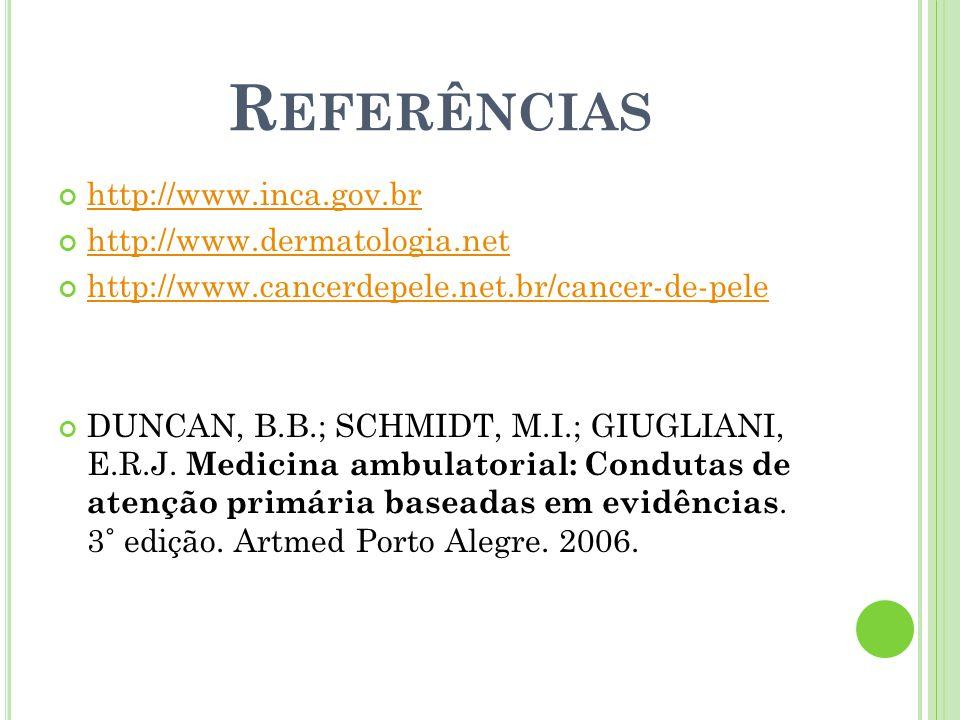 Referências http://www.inca.gov.br http://www.dermatologia.net