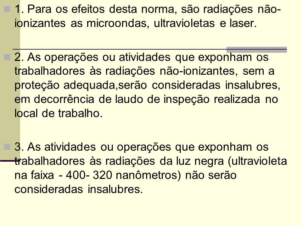 1. Para os efeitos desta norma, são radiações não-ionizantes as microondas, ultravioletas e laser.