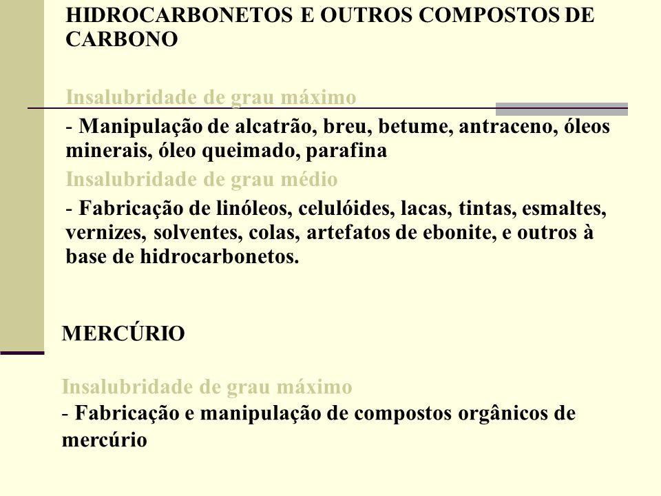 HIDROCARBONETOS E OUTROS COMPOSTOS DE CARBONO