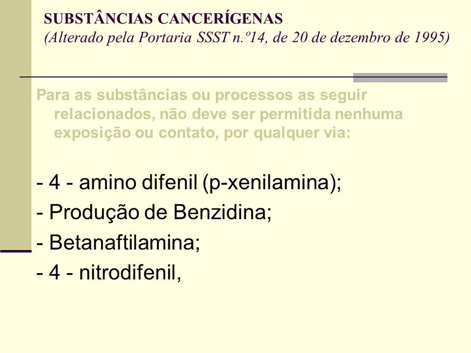 - 4 - amino difenil (p-xenilamina); - Produção de Benzidina;