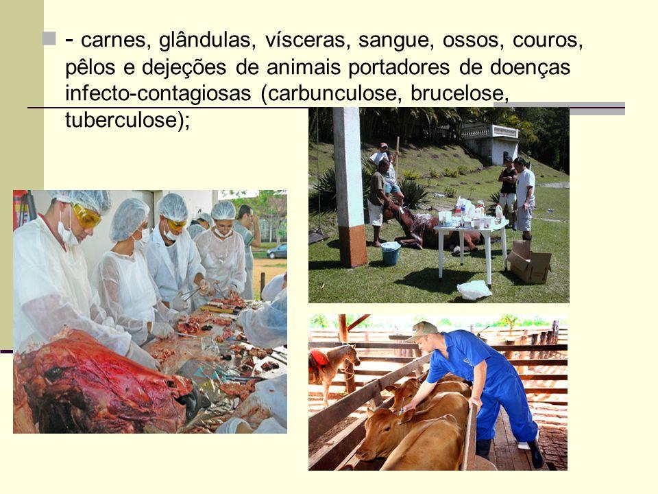 - carnes, glândulas, vísceras, sangue, ossos, couros, pêlos e dejeções de animais portadores de doenças infecto-contagiosas (carbunculose, brucelose, tuberculose);