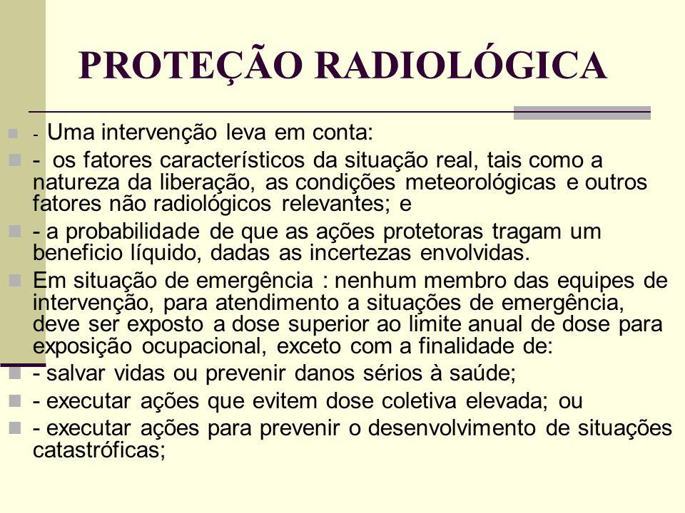 PROTEÇÃO RADIOLÓGICA - Uma intervenção leva em conta: