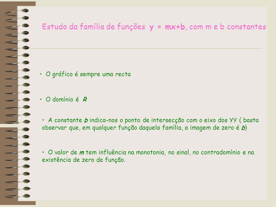 Estudo da família de funções y = mx+b, com m e b constantes