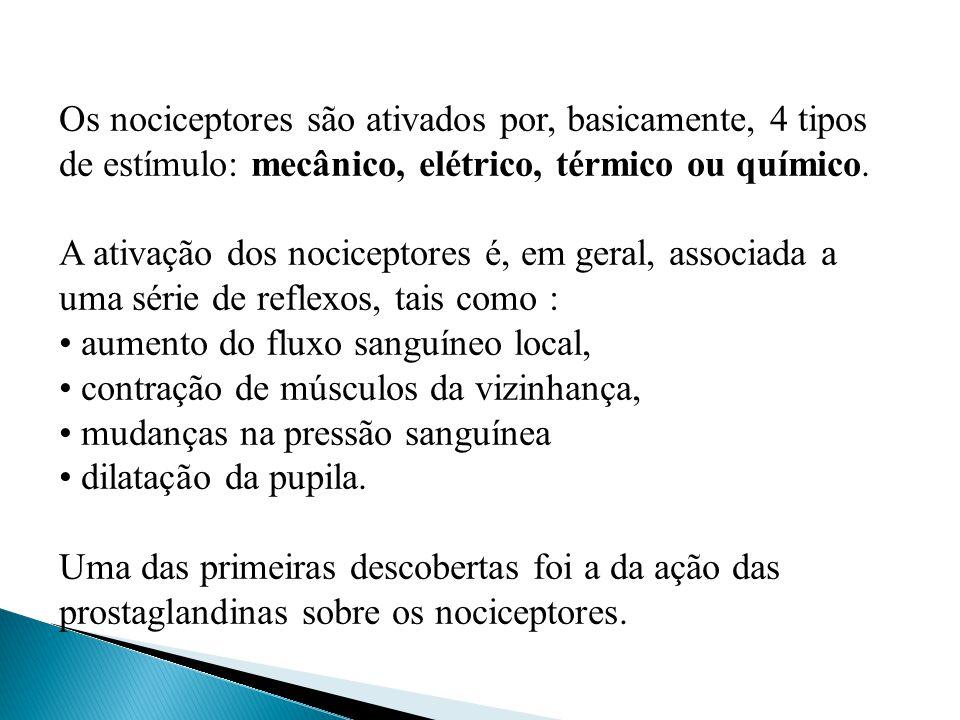 Os nociceptores são ativados por, basicamente, 4 tipos de estímulo: mecânico, elétrico, térmico ou químico.