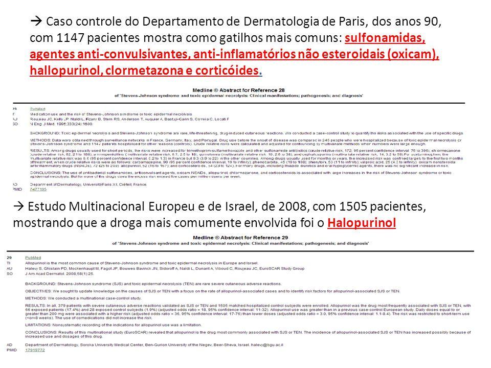  Caso controle do Departamento de Dermatologia de Paris, dos anos 90, com 1147 pacientes mostra como gatilhos mais comuns: sulfonamidas, agentes anti-convulsivantes, anti-inflamatórios não esteroidais (oxicam), hallopurinol, clormetazona e corticóides.