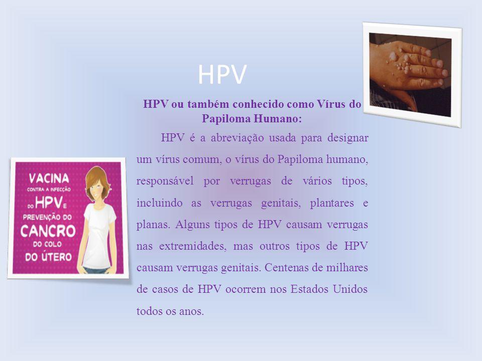 HPV ou também conhecido como Vírus do Papiloma Humano: