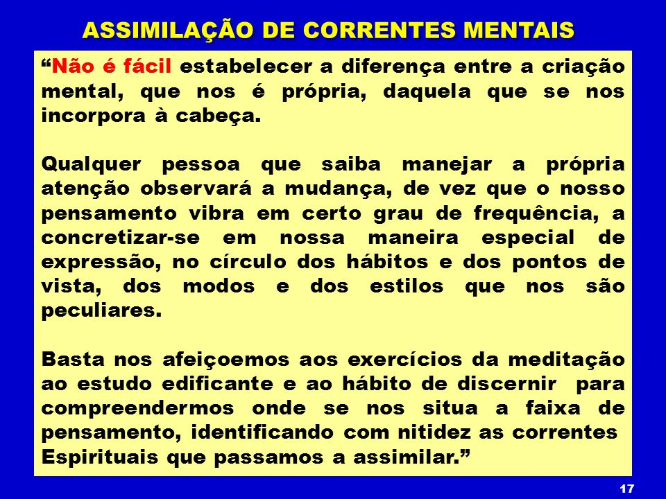ASSIMILAÇÃO DE CORRENTES MENTAIS