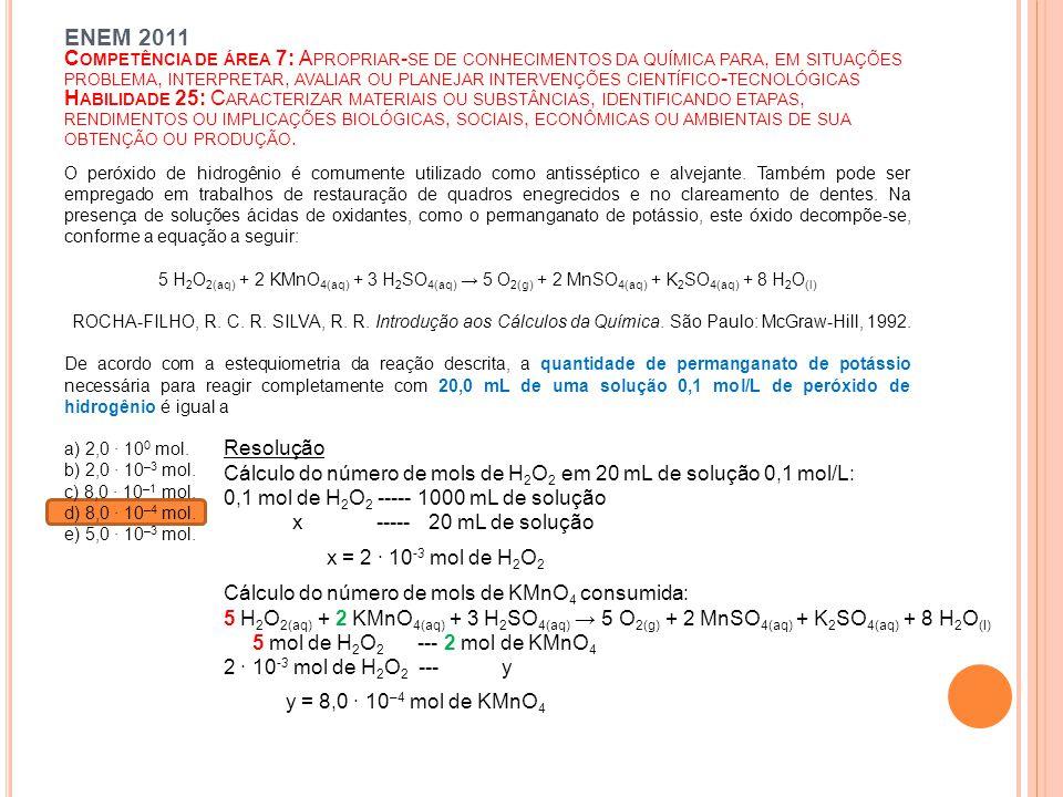 Cálculo do número de mols de H2O2 em 20 mL de solução 0,1 mol/L: