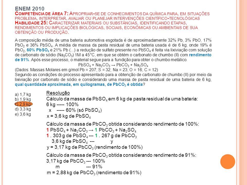 Cálculo da massa de PbSO4 em 6 kg de pasta residual de uma bateria: