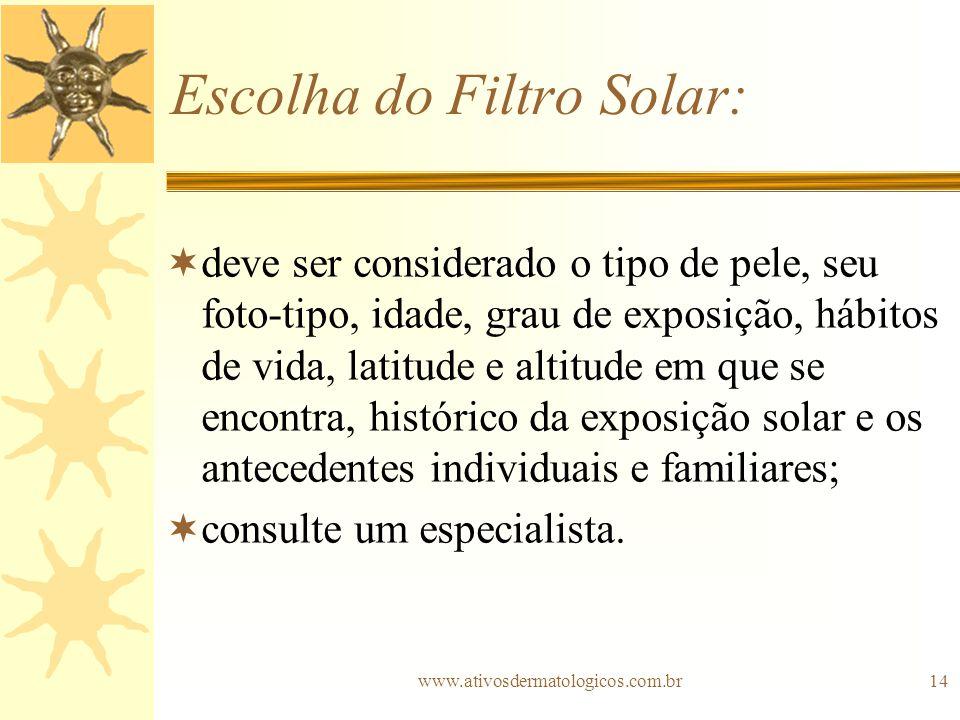 Escolha do Filtro Solar: