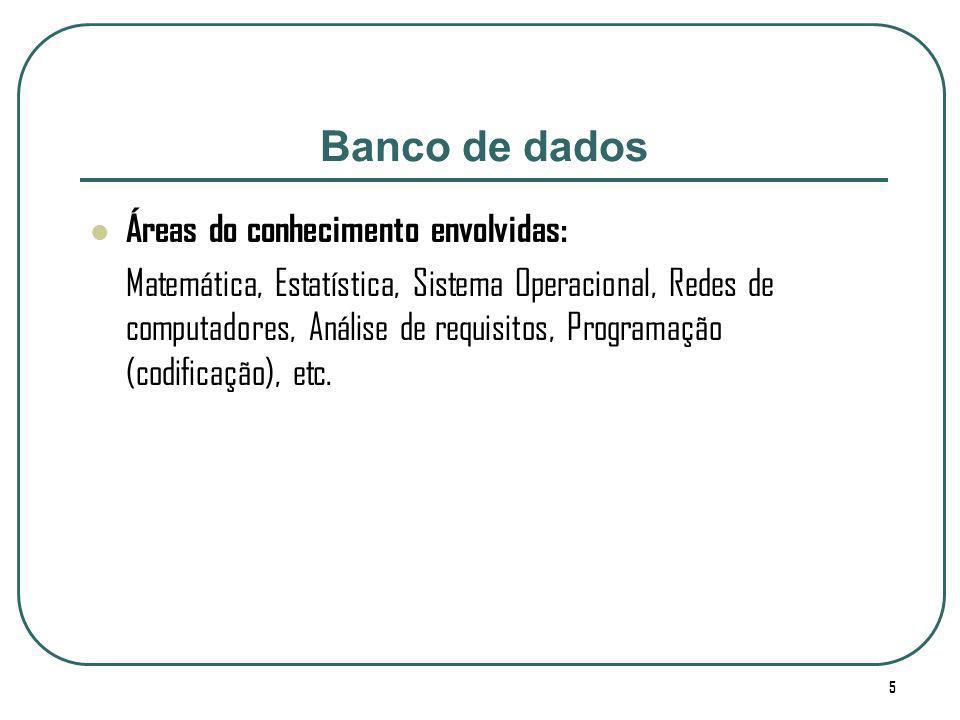 Banco de dados Áreas do conhecimento envolvidas: